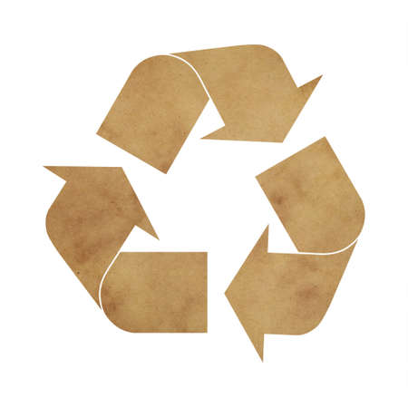 Illustration of recycling symbol of brown paper parchment isolated on white background