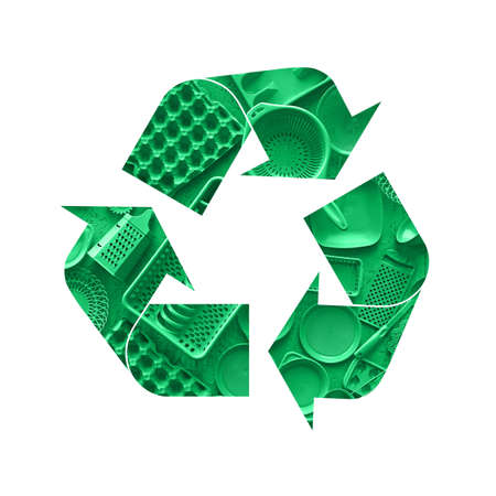 Illustration recycling symbol of green plastic disposable tableware isolated on white background