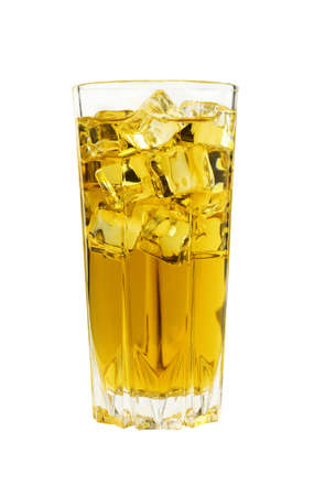 Close up one full high glass of cold iced green or herbal tea with transparent ice cubes, isolated on white background, low angle side view