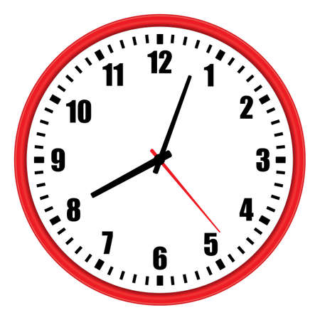 Vector illustration of one modern red wall clock with arabic numerals over white background, low angle front view