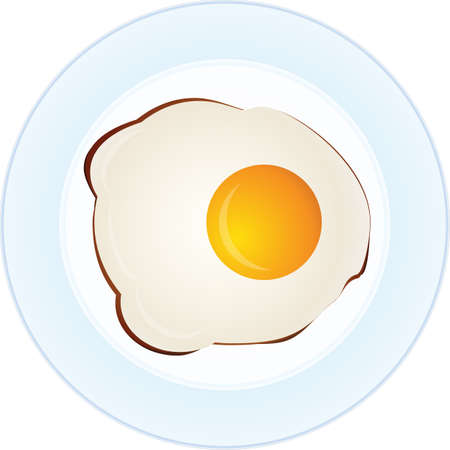 Vector illustration of one cooked sunny side fried egg on blue and white plate, elevated top view, directly above