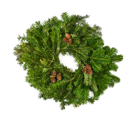 Close up one fresh green spruce tree Christmas wreath decoration isolated on white background