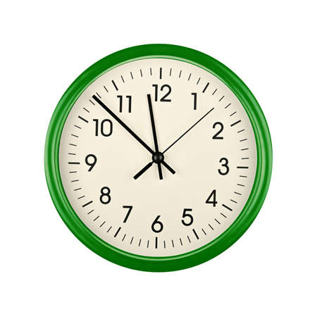 Close up green wall clock face dial with Arabic numerals, hour, minute and second hands isolated on white background