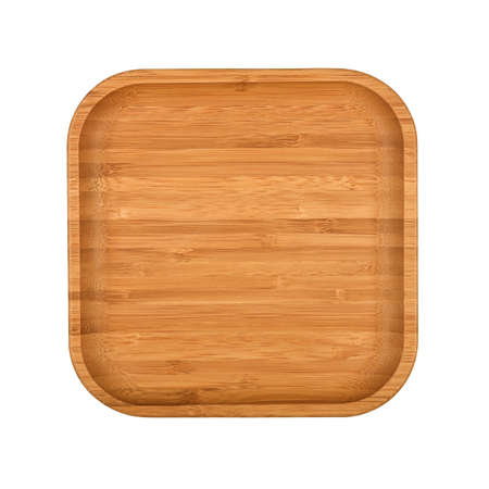 Close up one empty brown bamboo wooden plate or food tray isolated on white background, elevated top view, directly above