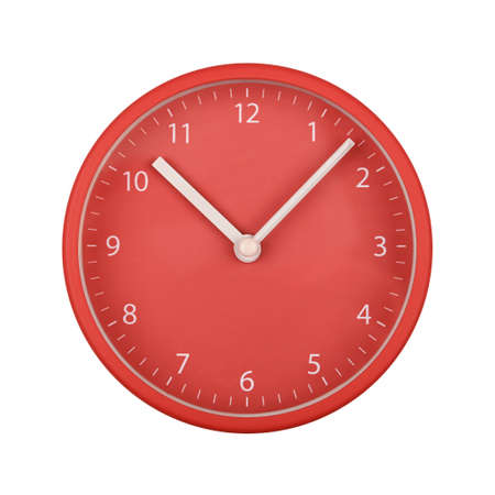 Close up red wall clock face dial with Arabic numerals, hour and minute hands isolated on white background