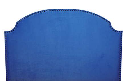 Dark indigo navy blue soft velvet fabric shaped bed headboard isolated on white background, front view