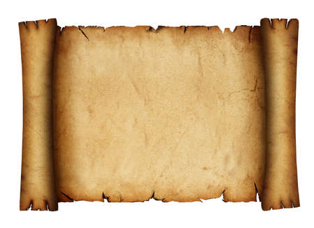 Close up one blank old antique vintage brown paper parchment scroll with copy space isolated on white background Standard-Bild