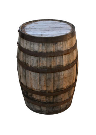 Close up one old vintage oak wood wine barrel or aged weathered whiskey cask isolated on white background, high angle view