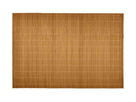 Close up one natural brown bamboo wood mat isolated on white background, directly above