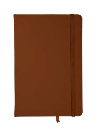 Closed dark brown faux leather cover notebook isolated on white background, flat lay, directly above