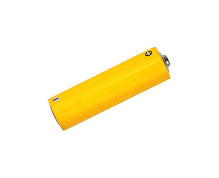 Close up one blank vivid yellow alkaline AA battery with copy space isolated on white background