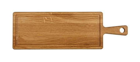 Close up of one rectangle shaped brown oak wood kitchen cutting board with handle and blood channel isolated on white background Stok Fotoğraf