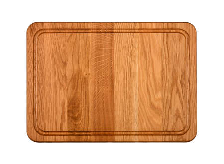 Close up of one rectangle shaped brown oak wood kitchen cutting board with blood channel isolated on white background