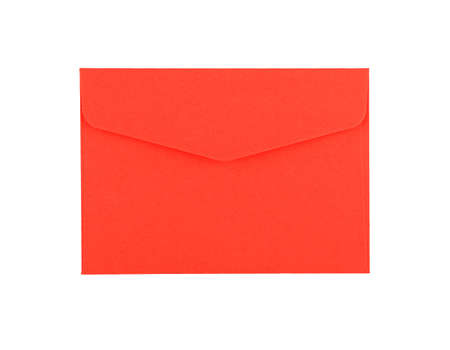 Closed blank vivid red paper envelope isolated on white background, flat lay, directly above Stok Fotoğraf