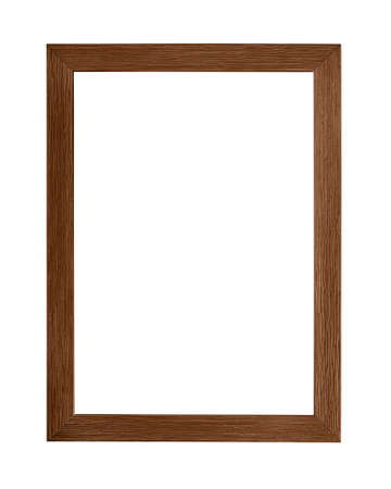 Modern dark brown color painted rectangular vertical frame for picture or photo, isolated on white background Stok Fotoğraf