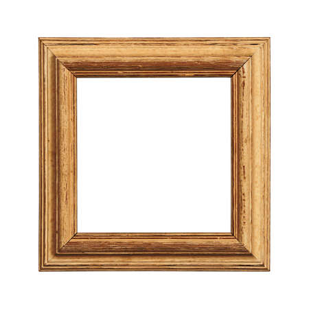 Vintage old antique brown painted square massive picture frame with cracked paint isolated on white, close up Stok Fotoğraf