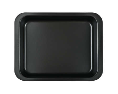Close up one rectangular black nonstick tin baking mold case isolated on white background, elevated top view, directly above Stok Fotoğraf