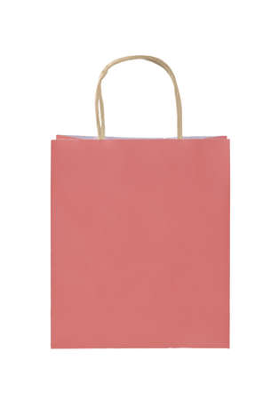Close up one natural pink paper shopping or gift bag isolated on white, low angle front view Stok Fotoğraf