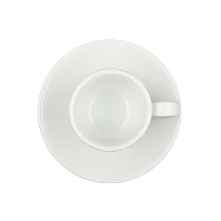 Close up one empty white espresso coffee cup on saucer isolated on white background, elevated top view, directly above Stok Fotoğraf