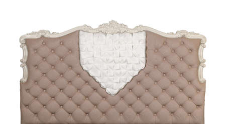 Beige colored soft tufted fabric capitone bed headboard of Chesterfield style sofa with carved wooden frame, isolated on white background, front view Stok Fotoğraf