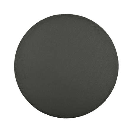 Close up one round shape big black slate stone cutting board isolated on white background, elevated top view, directly above