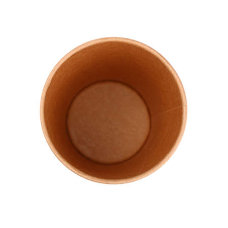 Close up one big empty brown paper coffee to go cup isolated on white background, elevated top view, directly above Stok Fotoğraf