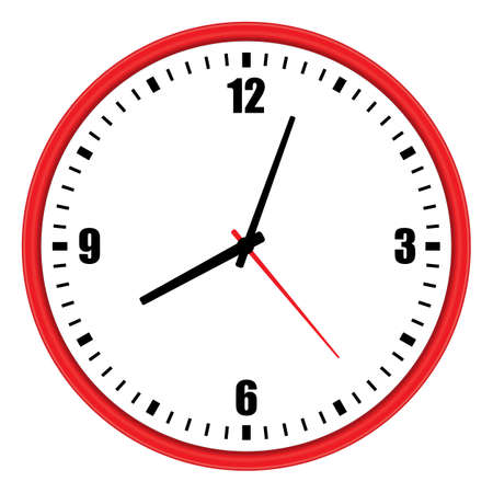 Vector illustration of one modern red wall clock with arabic numerals over white background, low angle front view Векторная Иллюстрация