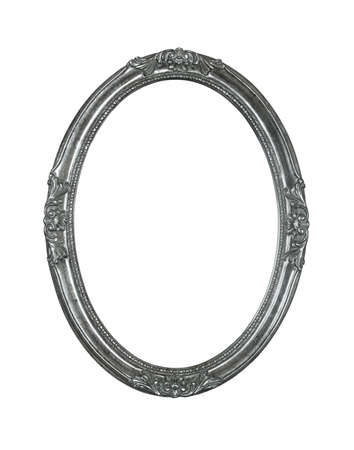 Vintage old wooden classic silver gray round oval frame for picture or photo, isolated on white background, close up