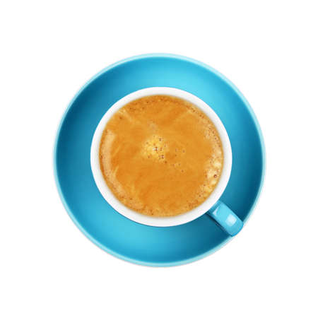 Close up full cup of espresso coffee on blue saucer isolated on white background, elevated top view, directly above Stok Fotoğraf