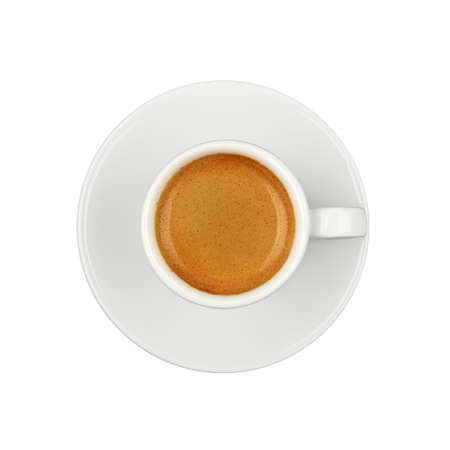 Close up one white cup full  of espresso coffee, on saucer, isolated on white background, elevated top view, directly above Stok Fotoğraf