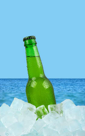 Close up one green glass bottle of cold lager beer on ice cubes over background of summer sea and sky, low angle side view Stok Fotoğraf