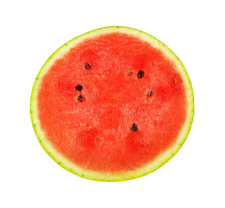 Close up half of fresh red ripe juicy watermelon cut isolated on white background, directly above, elevated top view