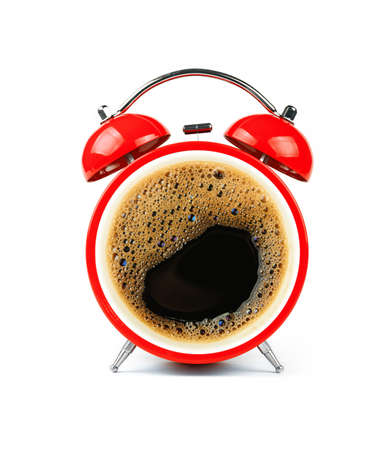Close up one red retro alarm clock with black coffee cup froth face, isolated on white background, low angle, front view