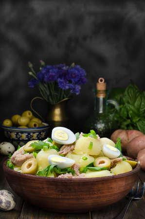 potato tuna: Fresh Spanish potato salad with tuna, still life