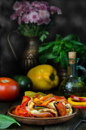 crockery: Fresh French ratatouille in crockery plate, still life Stock Photo
