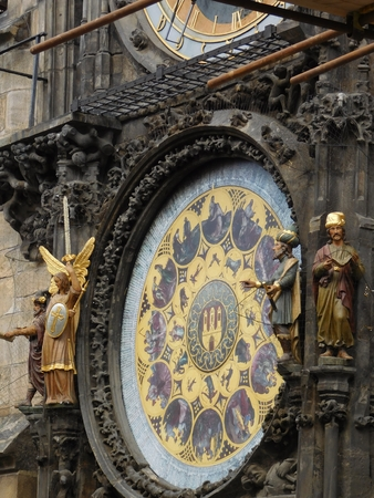 A medieval astronomical clock in the city of Prague
