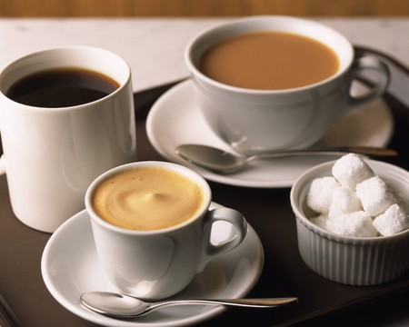 Collage (collection) of various coffee cups with coffee and sugar.