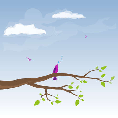 warble: vector spring background with birds Illustration