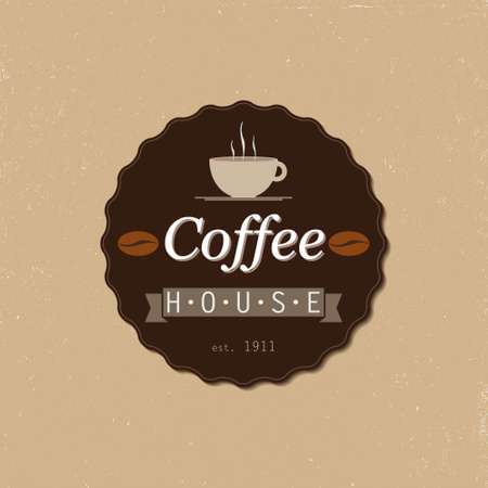 coffee house: coffee house badge  vector illustration