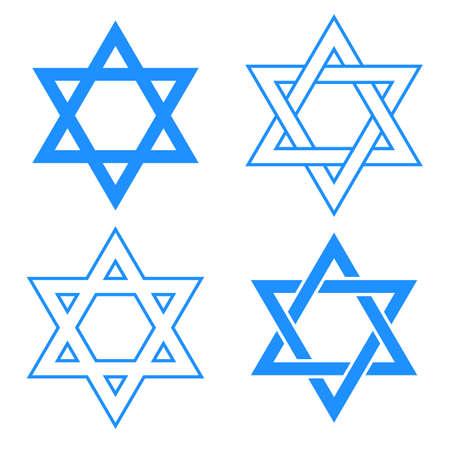 estrella de david: vector de la estrella azul del s�mbolo de david aislados en blanco