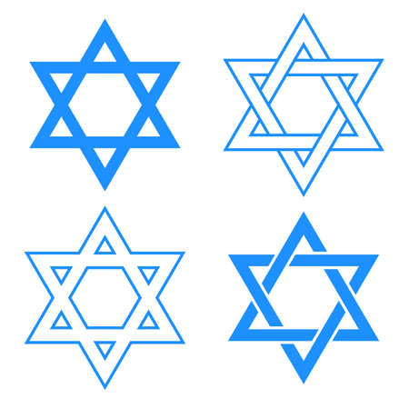 vector blue star of david symbol isolated on white