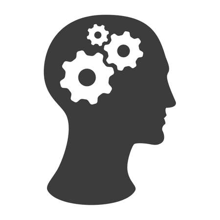 side profile: human head silhouette with gears isolated on white background