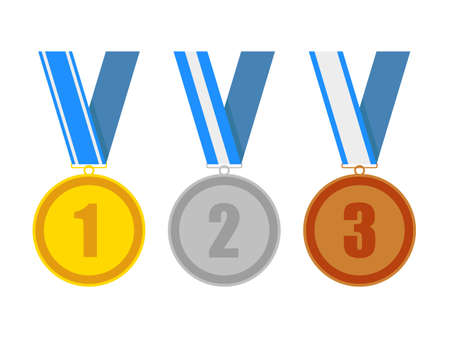 acknowledgment: gold silver and bronze award medals on a blue various ribbons. for a win in sport or business. isolated on white background. vector illustration