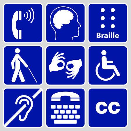disabilità simboli e segni insieme di blu, può essere utilizzato per pubblicizzare l'accessibilità dei luoghi, e di altre attività per le persone con varie disabilities.vector illustrazione