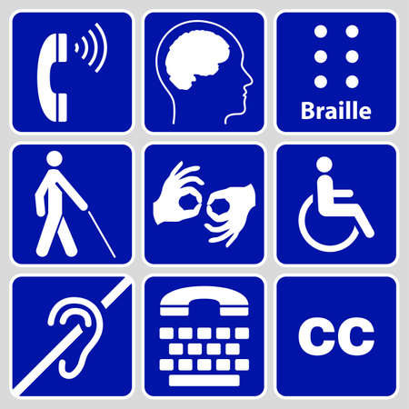 blue disability symbols and signs collection, may be used to publicize accessibility of places, and other activities for people with various disabilities.vector illustration Vettoriali