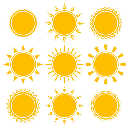 set of shiny bright yellow sun isolated on white background Vector
