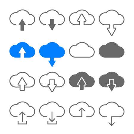 download upload cloud icons set