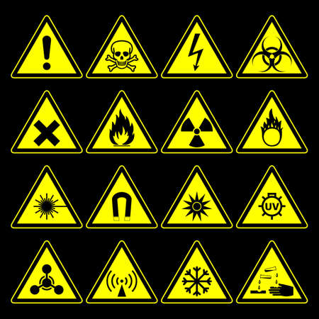 triangular warning hazard symbols and signs collection, isolated on black background. vector illustration Vettoriali
