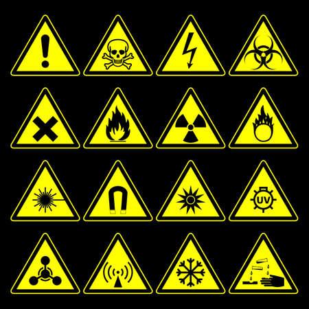 riesgo biologico: triangular símbolos y signos colección peligro advertencia, aislado sobre fondo negro. ilustración vectorial