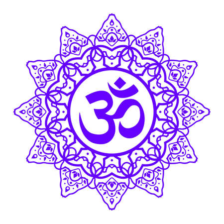 om symbol, aum sign, with decorative indian ornament mandala, isolated on white background. vector illustration Vectores